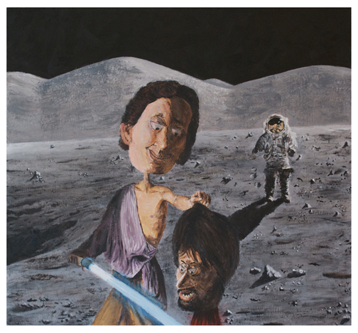 David with the Head of Goliath…on the Moon!